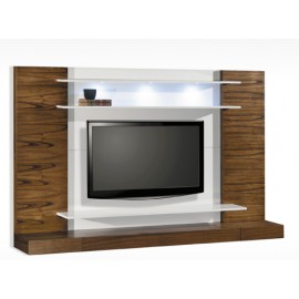 MUEBLE DE TV PARED MADERA Y BLANCO